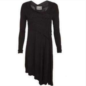 All Saints asymmetrical black sweater dress S
